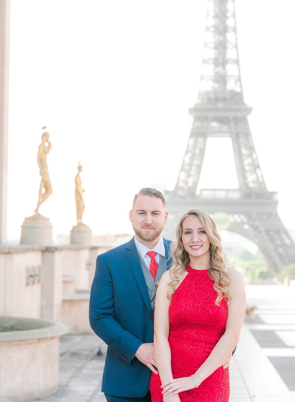 romantic engagement photo shoot in paris france at eiffel tower