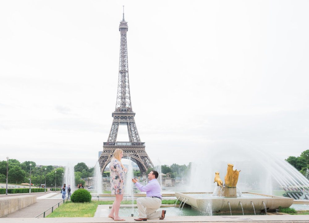 surprise proposal in paris at the eiffel tower