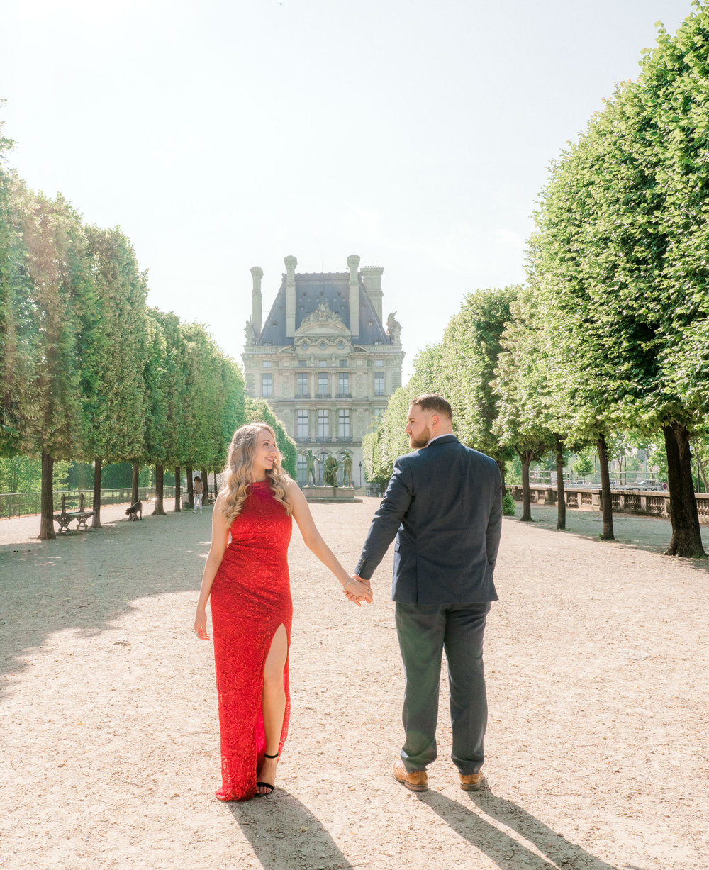 An elegant surprise proposal at the Eiffel Tower, followed by a gorgeous Louvre engagement session -