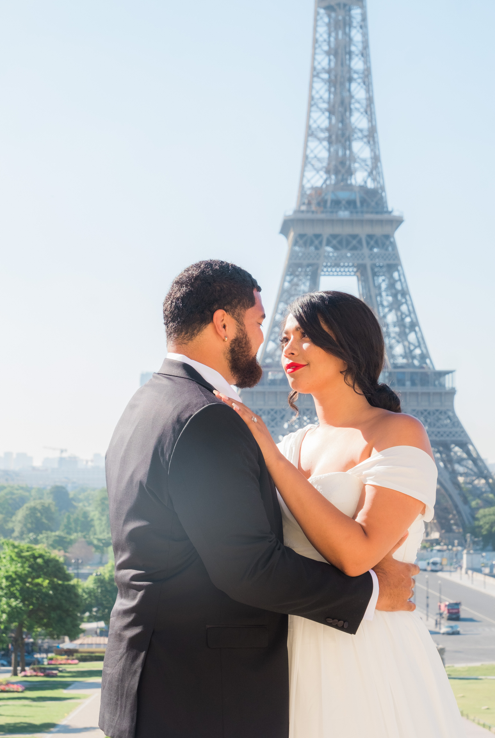 Elegant, romantic newlywed photo session at the Eiffel Tower in Paris, France
