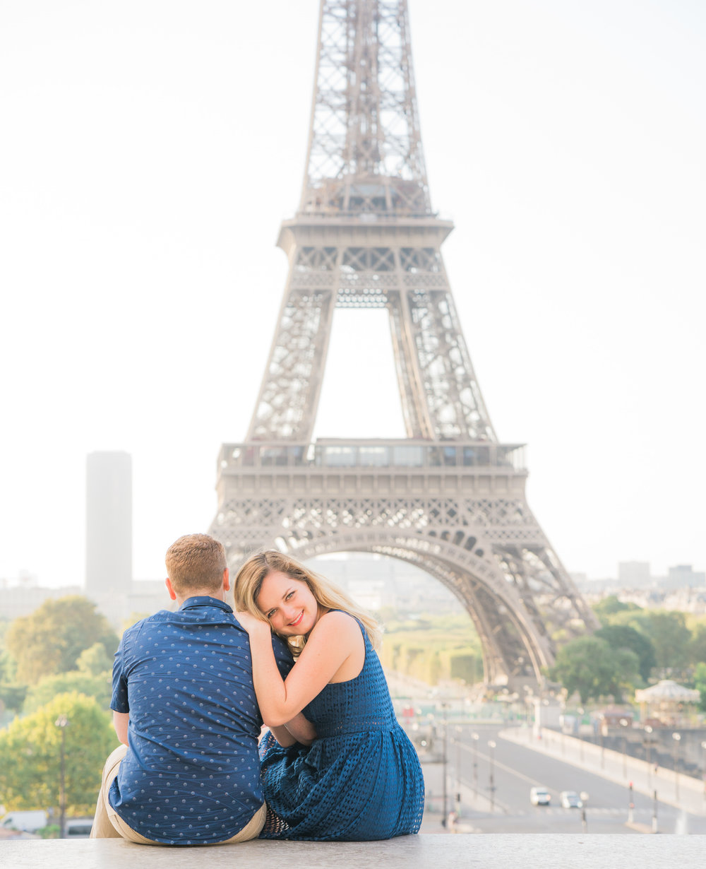 young couple in love photo shoot at trocadero eiffel tower in paris france