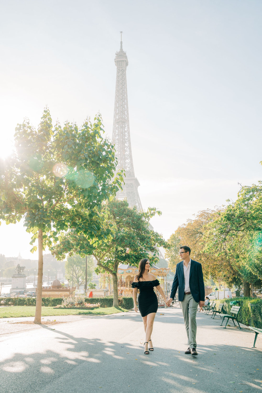 gorgeous paris engagement photo shoot at the eiffel tower in paris