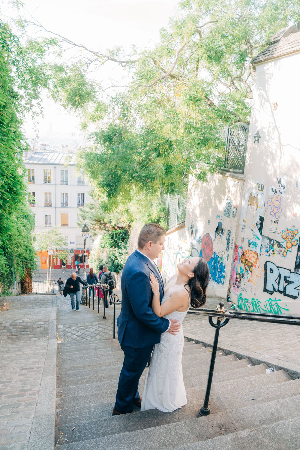 romantic wedding photo shoot in paris france montmartre neighborhood