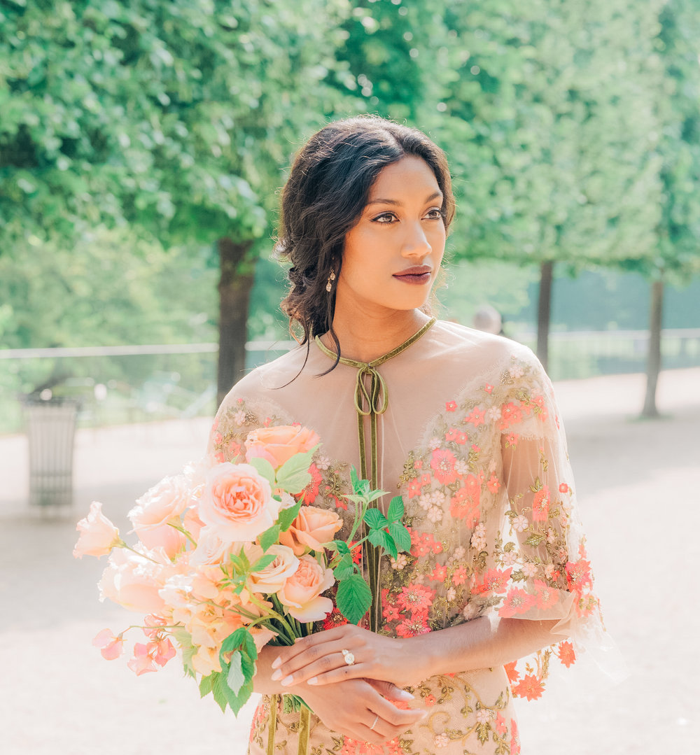 Gorgeous elopement shoot in the Tuileries Gardens in Paris France