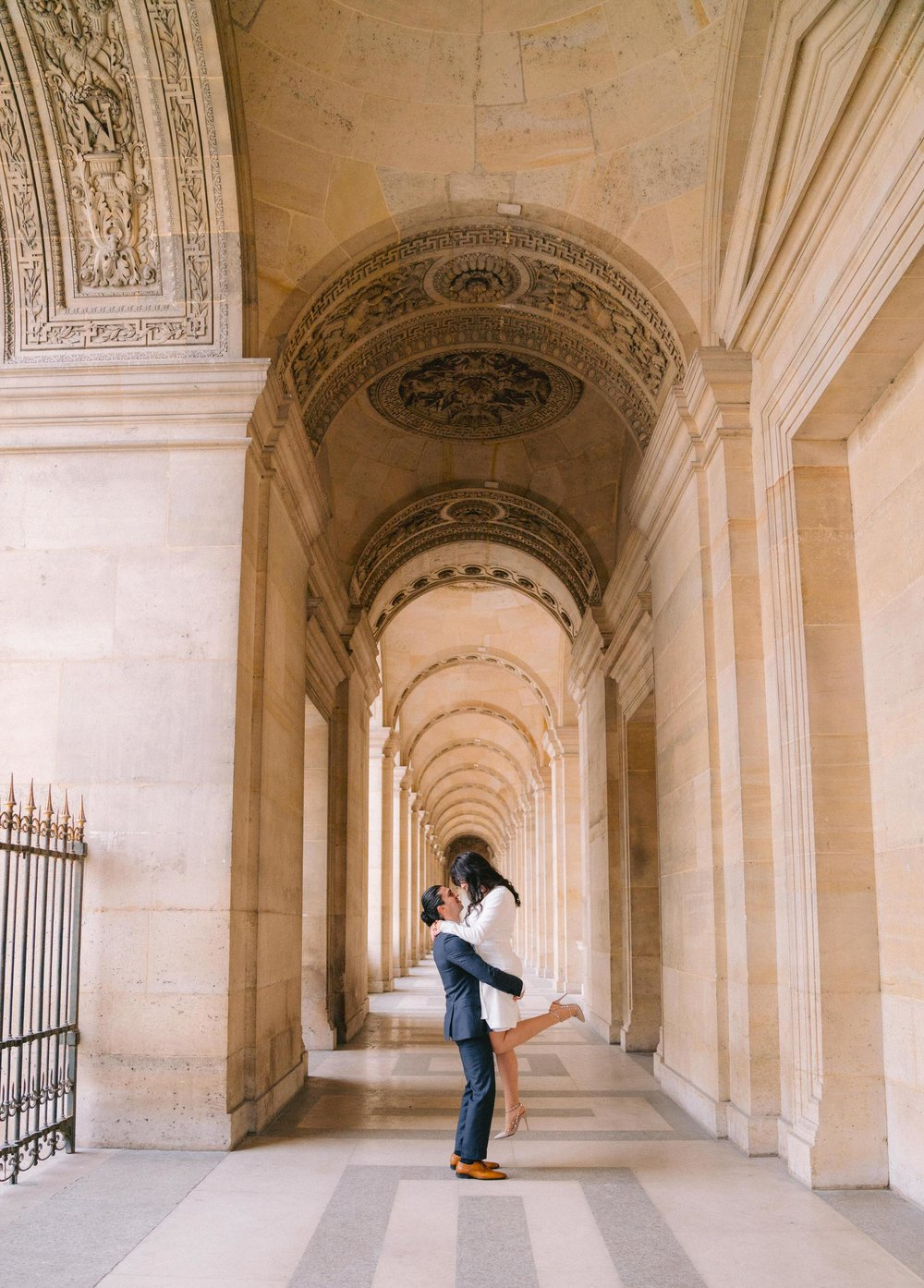 elegant engagement session at the louvre museum in paris france