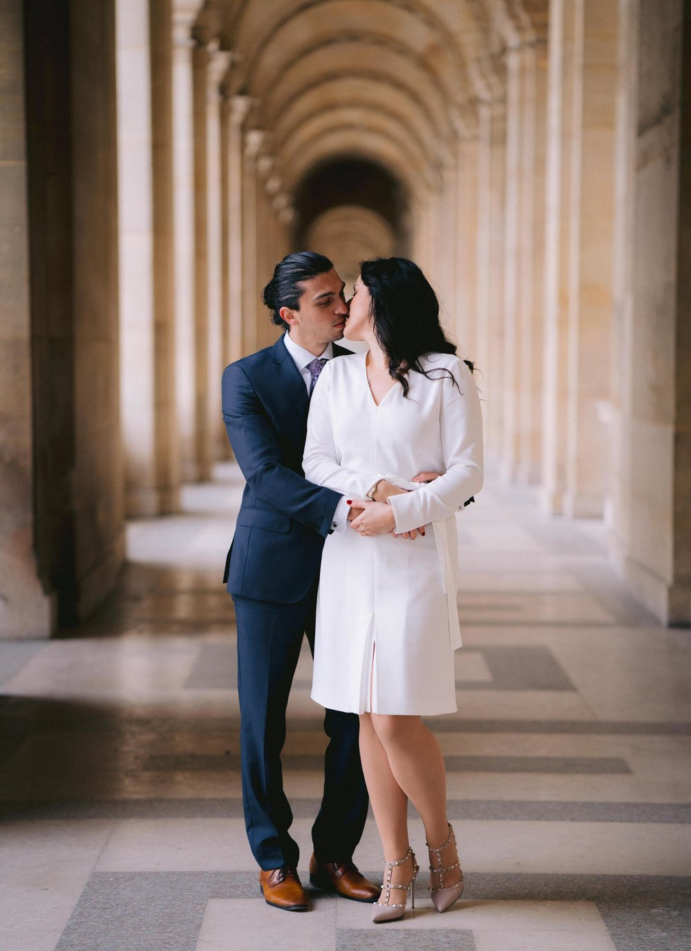 beautiful engagement photo session at the louvre museum in paris france