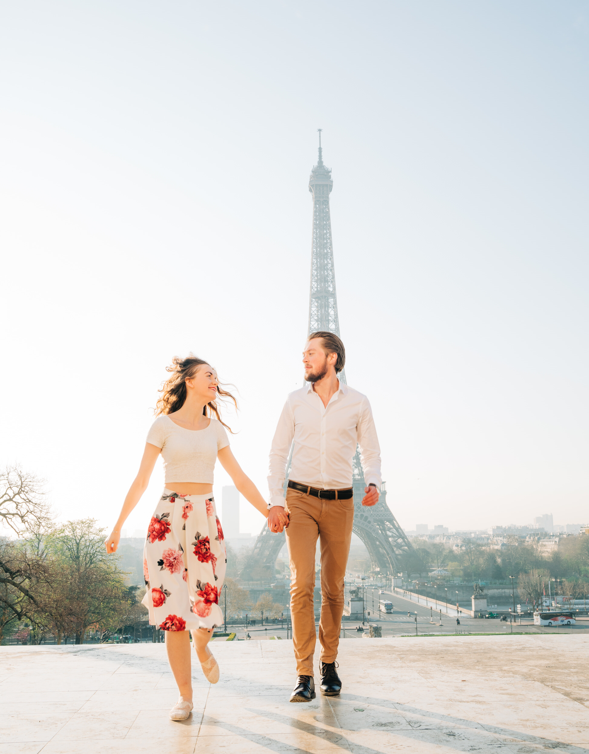 Young love at the Eiffel Tower Paris photo shoot