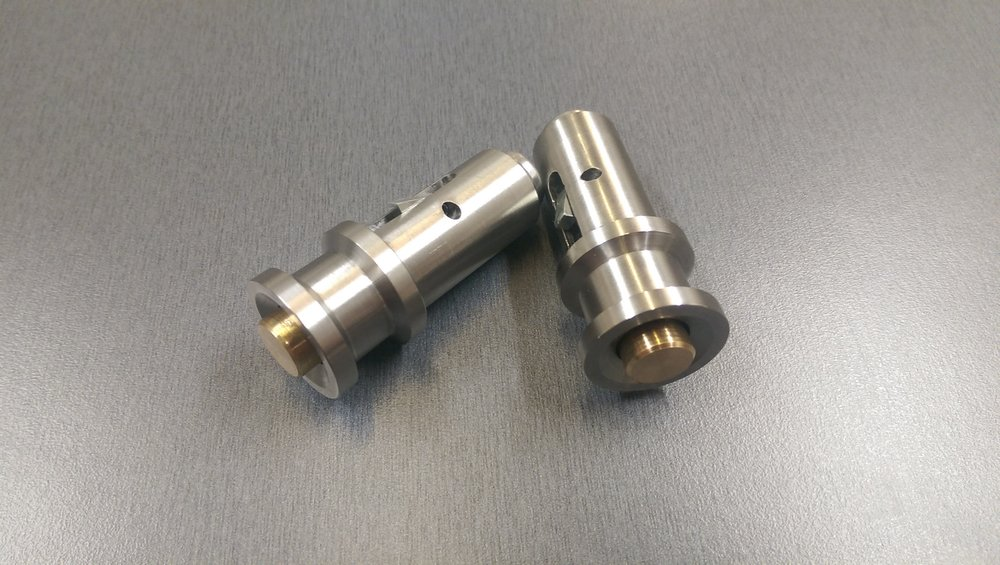Precision turned prototype locking pin made from stainless steel & brass