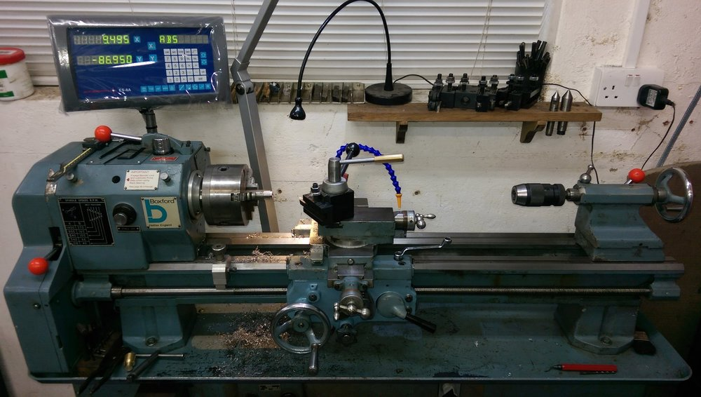 Turning a part on our little Boxford Lathe