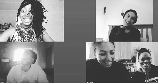 A new year is about to begin. We hope you have a nice time ending 2018. V/DA's @claricia.kr @melebroomes @sebbijh catch up with 2019 vibes. Sonic Séance creative team video meeting intrusion lol. In coming @ashantisharda @patriciapanther @_thefuries_ #newwork #sonic #sonicseance #womeninthearts #womenintheartsscotland