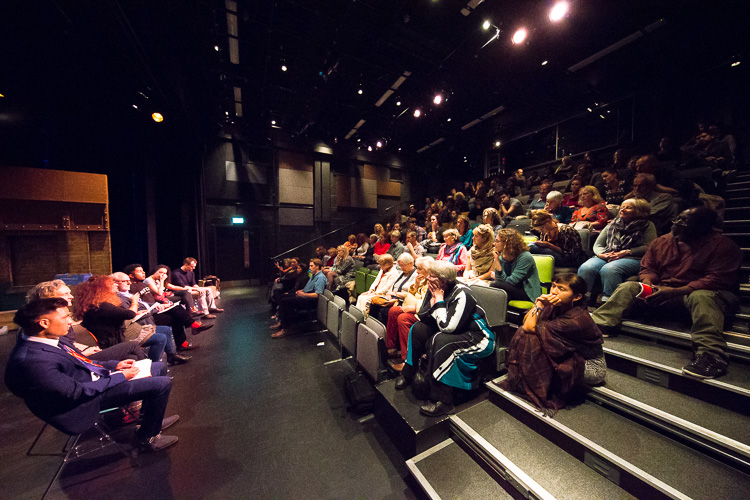 Mandala Debate at Pegasus Theatre, Oxford, with Gul Zada, Elaine Chase, Yasmin Sidhwa, Roger Zetter, Zakaria Zerouali, Aimee Powell and Oliver Davis; Photograph: Fisher Studios;