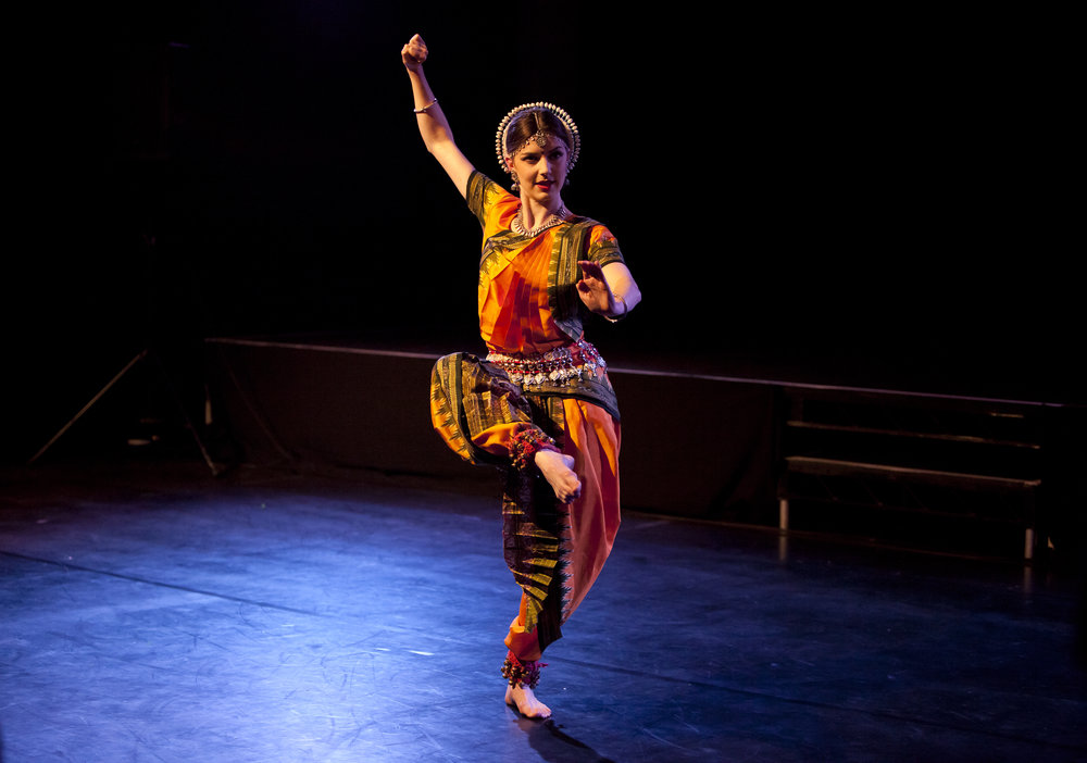 performance: gods and mortal - Kadam presented Katie Ryan of The Odissi Ensemble in two solo pieces that showcased the grace and the power of this classical South Asian dance style. An artist born and raised in Bedfordshire, where she also trained in odissi, Katie is living proof of the positive features of today's multicultural Britain.