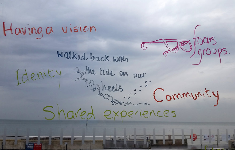 Words from the discussion scribed onto the windows