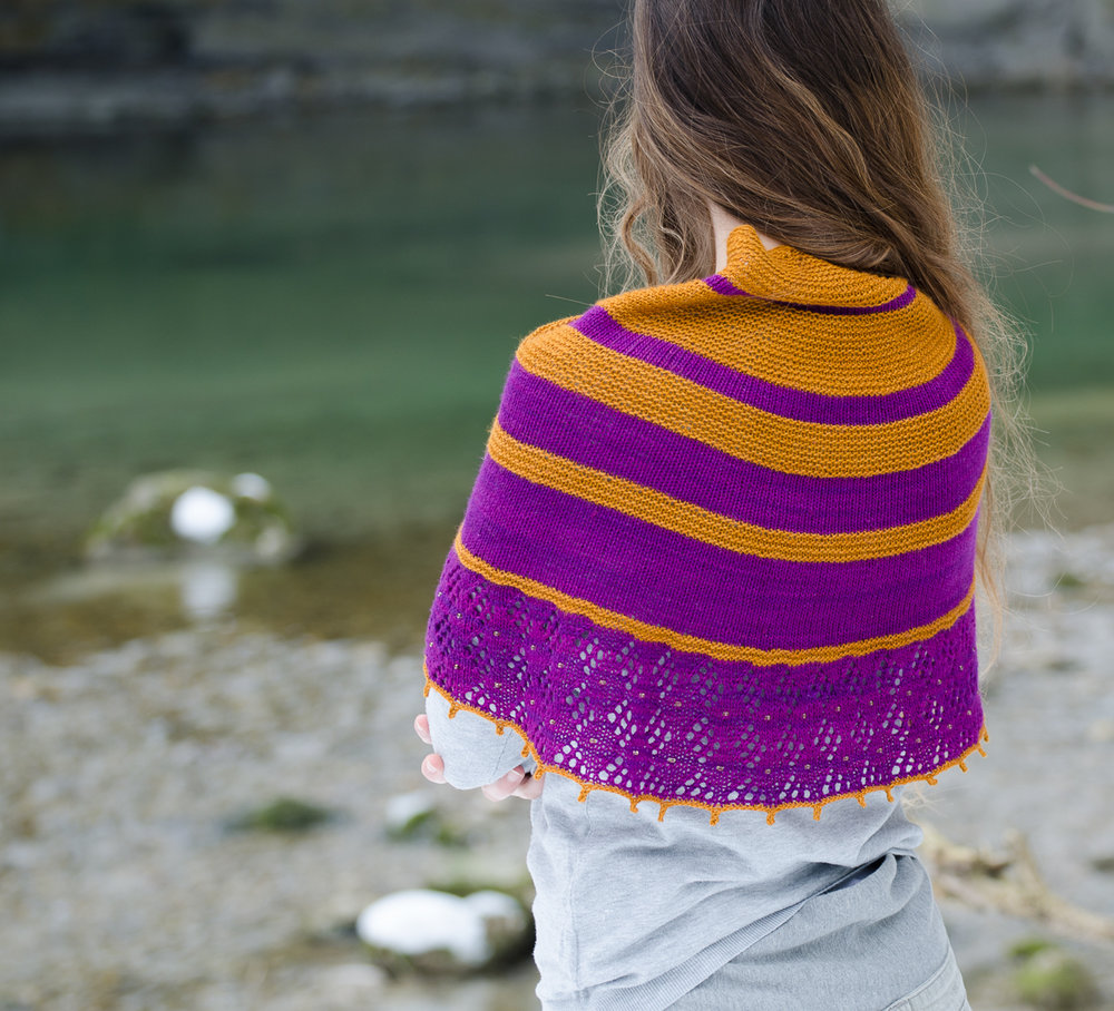 Autumn knitting patterns - Purple Caramel Shawl