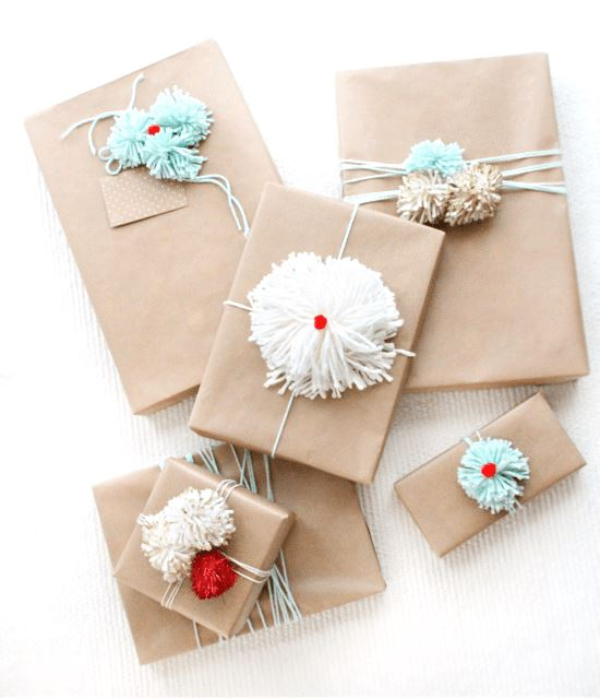 DIY pom pom gift wrap ideas  by   sugarandcloth