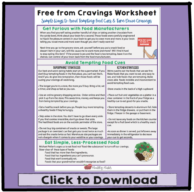 Use this worksheet to free yourself from Cravings   | 3 Sure Fire Ways to Free Yourself from Cravings | www.realhealthyhabits.com