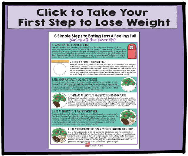 Six Simple Steps to Eating Less, Feeling Full, and Losing Weight--Starting with Your Dinner Plate|  Get Started Losing Weight without Dieting | www.realhealthyhabits.com
