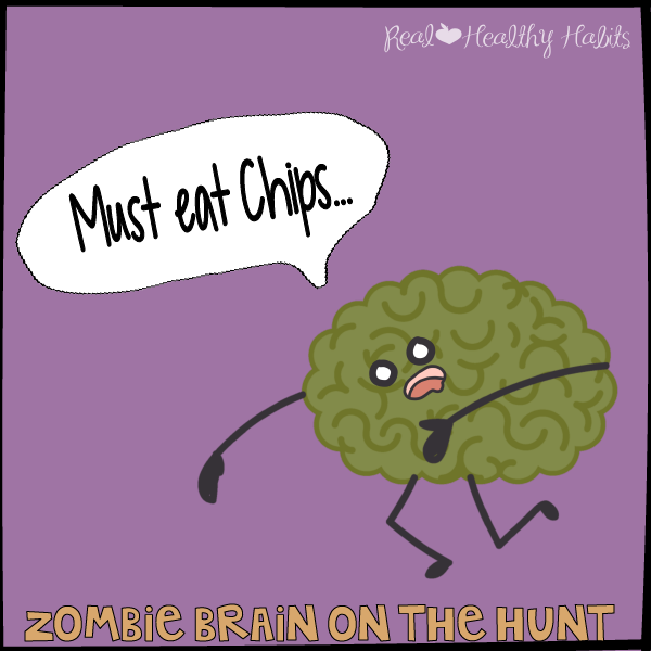 Zombie Brain on the Hunt for Potato Chips | How to Nix Zombie Eating the Easy Way | www.realhealthyhabits.com