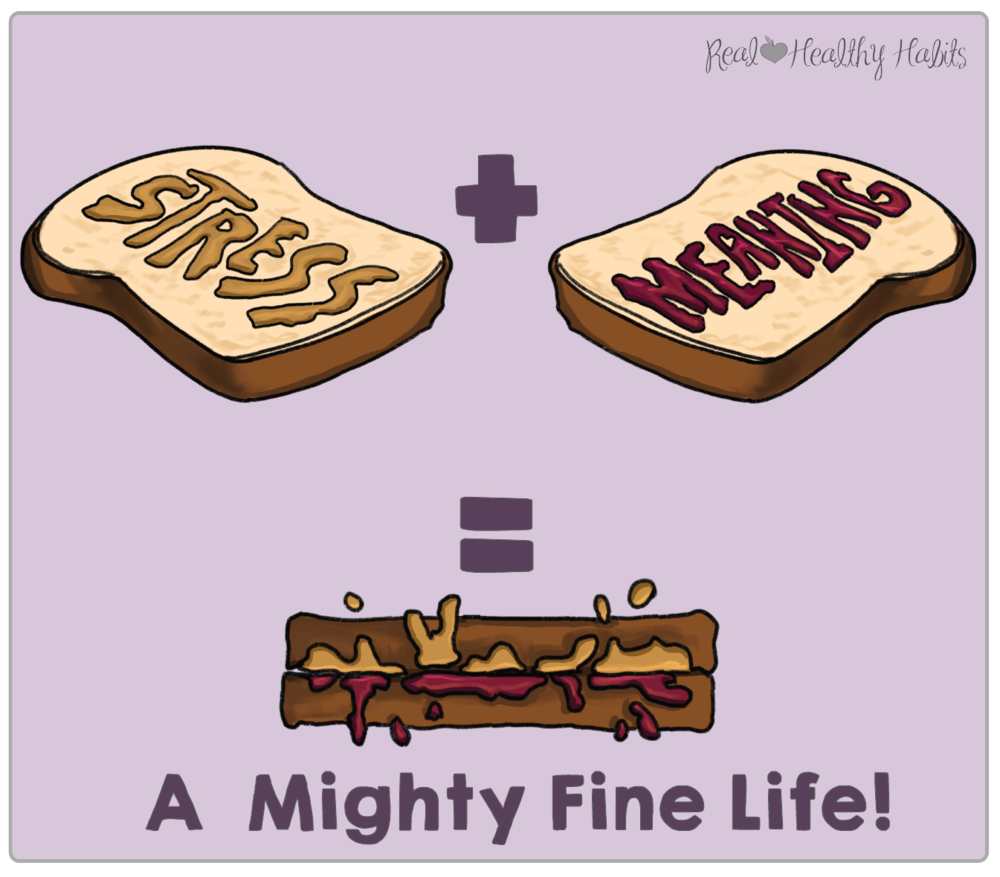 Stress and Meaning go together like peanut butter and jelly. Put them together and you have a might fine life | Stress Paradox #1— A meaningful life is a stressful life. | How to Make Stress Your Superpower: Stress Paradox #1 | www.realhealthyhabits.com