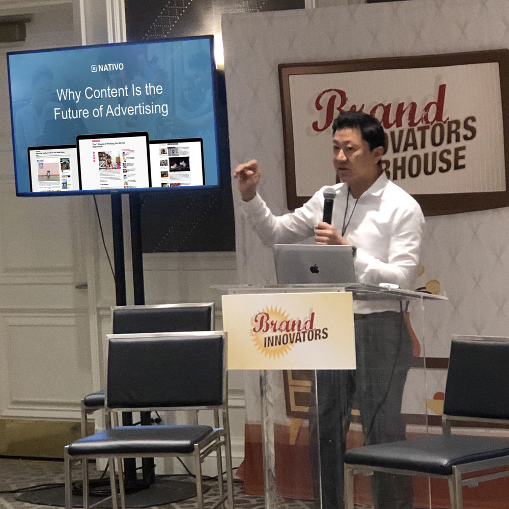 Nativo CEO Justin Choi at Brand Innovators' Future of Publishing and Monetization event.