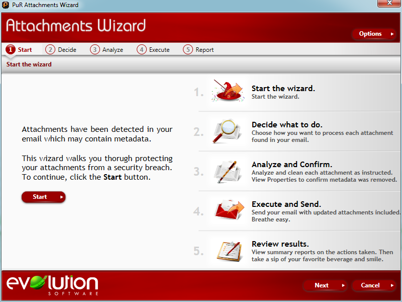 PuR Metadata workflow: Attachments Wizard start screen