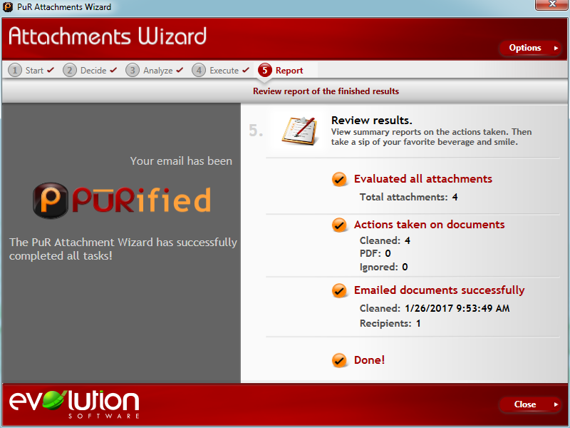 PUR METADATA WORKFLOW: ATTACHMENTS WIZARD Report Step
