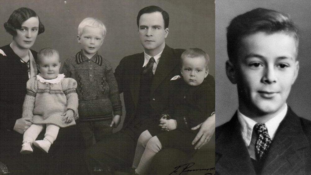 Vasemmalla kuva perhealbumista vuodelta 1935. Pikku-Pertti isänsä Pentin sylissä. Oikealla rippikuvassaan.