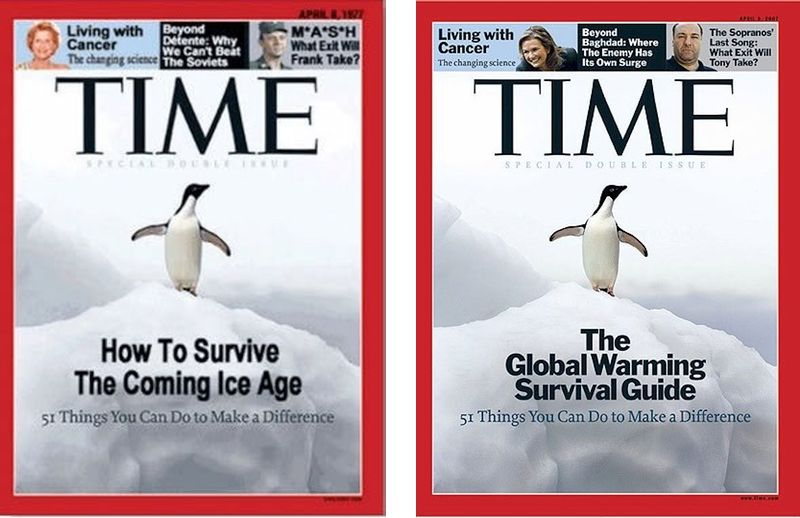 Hoax magazine cover purporting to be from 1977 (left), actual Time magazine cover from 2008 (right)