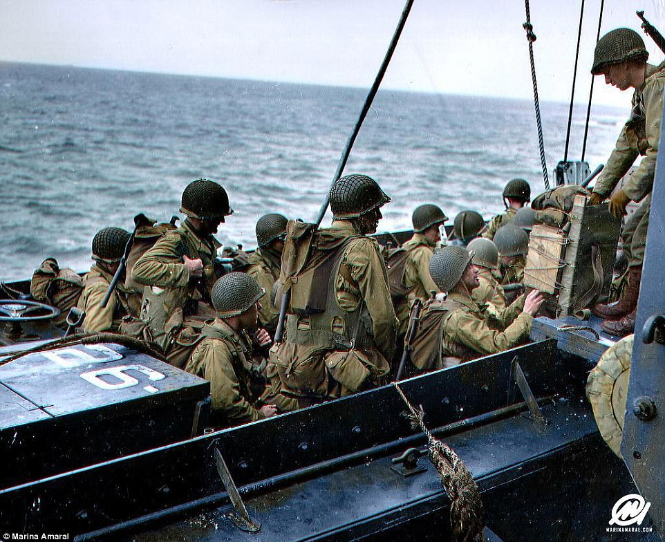 The pictures emerged on the 73rd anniversary of Operation Overlord, which saw some 156,000 Allied troops landing in Normandy