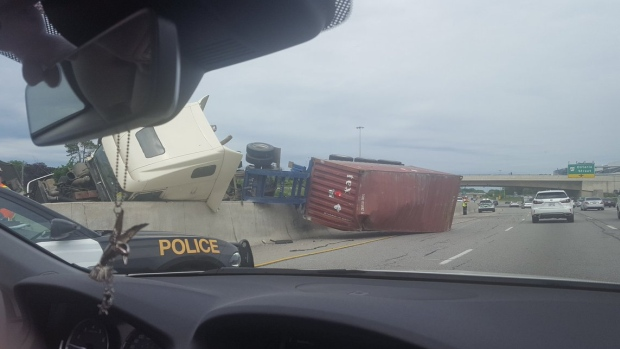 Jessica Troup tweeted a photograph of the truck rollover.