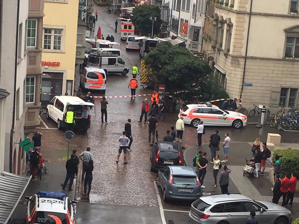 This photograph, taken by witness Sebastian Kummer, shows police and an ambulance in Schaffhausen after the attack. Twitter/s_j_kummer