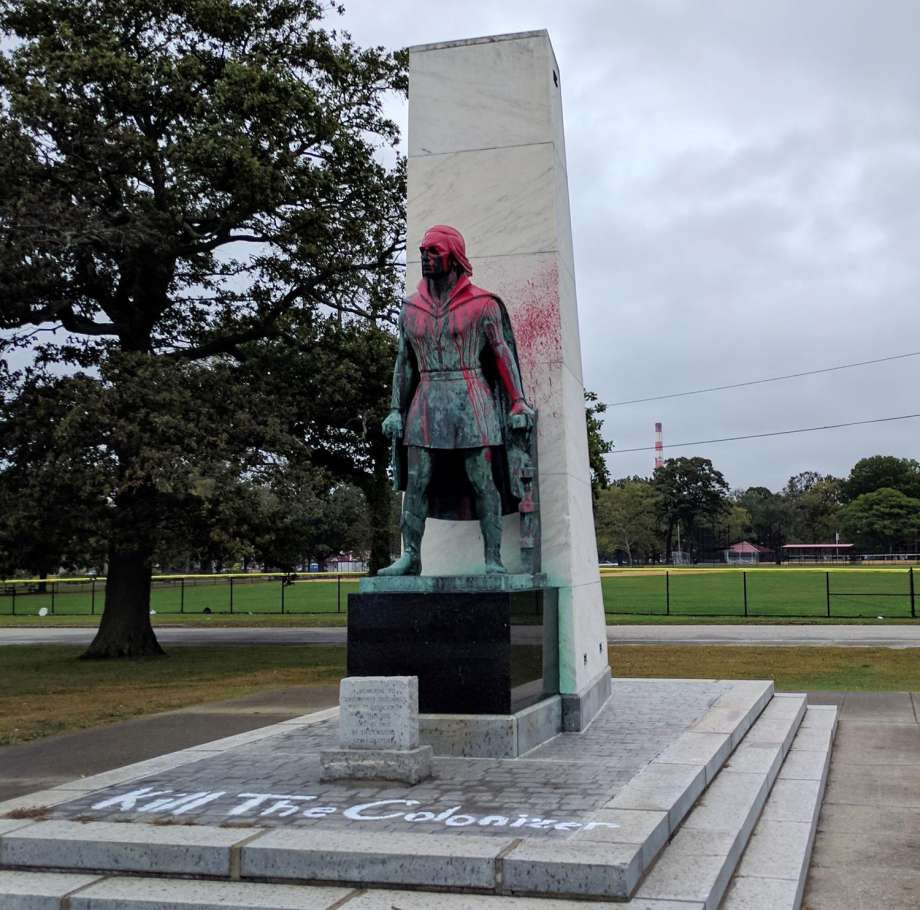 The Columbus statue in Seaside Park in Bridgeport, Conn.