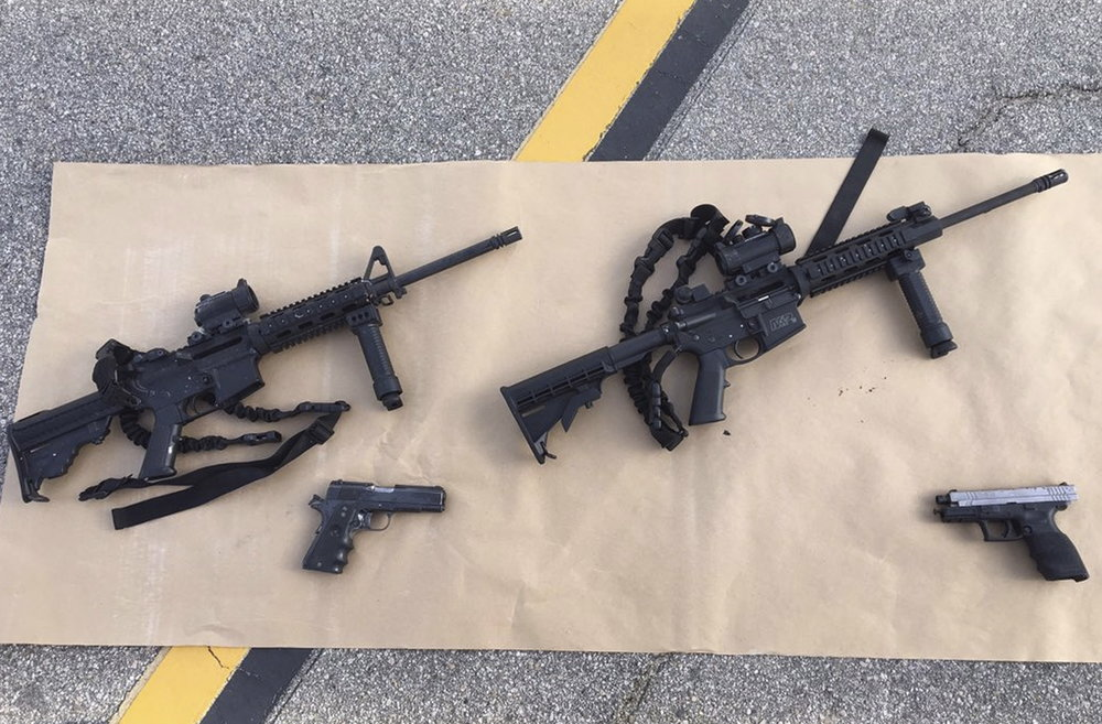 Weapons confiscated from last Wednesday's attack in San Bernardino, California, are shown in this San Bernardino County Sheriff Department handout photo from their Twitter account released to Reuters on Dec. 3, 2015. Photo provided by San Bernardino County Sheriffs Department/Handout