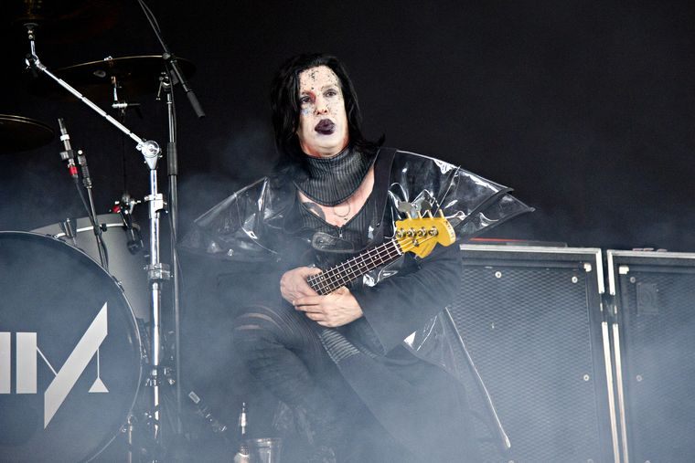 Twiggy Ramirez, performing alongside Marilyn Manson at Riverbend Music Center on Aug. 8, 2015, in Cincinnati.  Amy Harris/AP