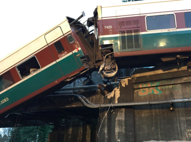This photo was distributed by the Pierce County, Washington Sheriff's Office during rescue efforts after a high-speed Amtrak train derailed there Monday.