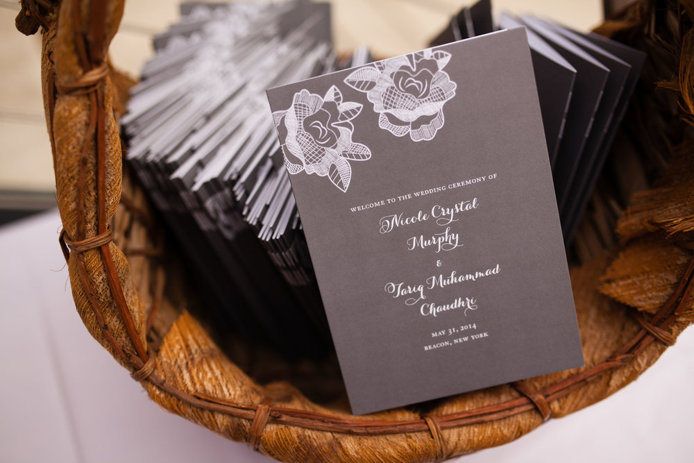 Ceremony program by Roseville Designs.