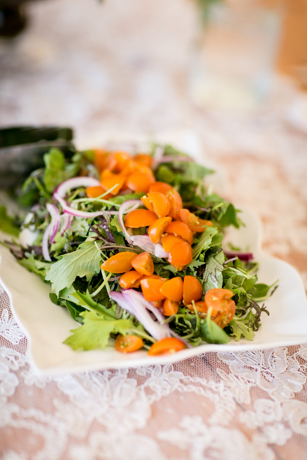 A Thyme to Cook and fresh veggies from their farm and The Farm School in Anthol, MA. Beautiful salad!