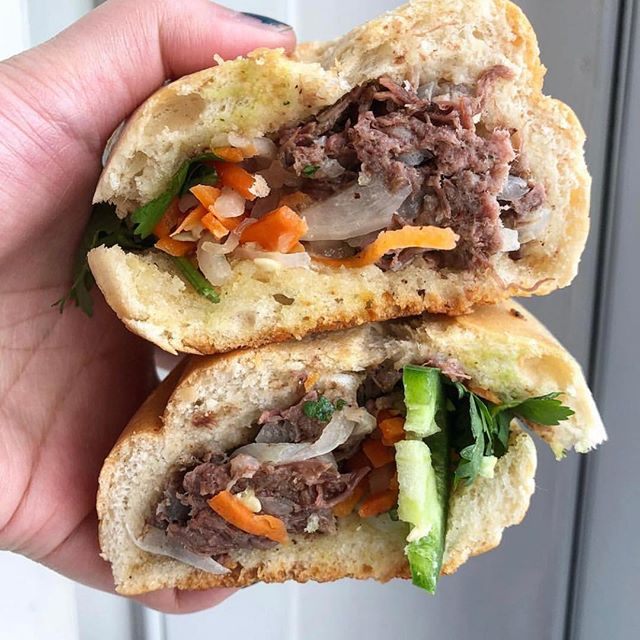 Banh Mi Bo is our one of kind beef sandwich with beef braised in our beef broth together with onions, a splash of lime, house made pate, Vietnamese mayo, cilantro, pickled carrots & daikon radish 🥖🐮 💪🔥😋 📸: @misscing      #eaterny #timeoutnewyork #devourpower #tastingtable #buzzfeed #insidernewyork #eeeeeats #foodoftheday #forkyeah #foodstagram #foodnetwork #nyceats #newyorkmagazine #seriouseats #lovefood #nomnomnom #nomnom #myfab5 #nycdining #topcitybites  #bensonhurst #heresmyfood #foodadventure #foodiefeature #foodislove #grubstreet