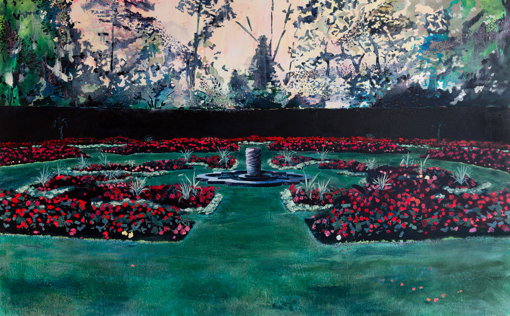 Queen Mary's Garden II, 2016, acrylic an oil on canvas, 84 x 136 in.