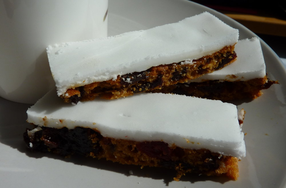 Iced Fruit Cake Slice