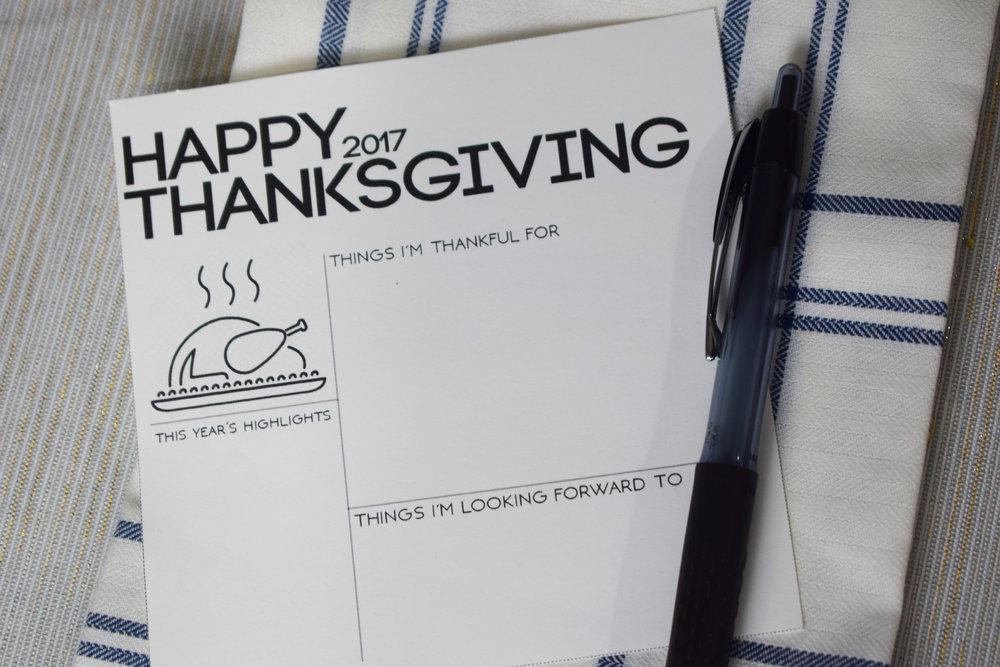 Thanksgiving Dinner Menu Printables