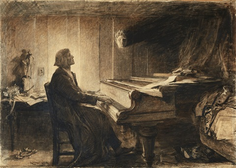 a picture of Franz Liszt at his piano because you need pictures spliced between text so that you don't get too bored. You're welcome.