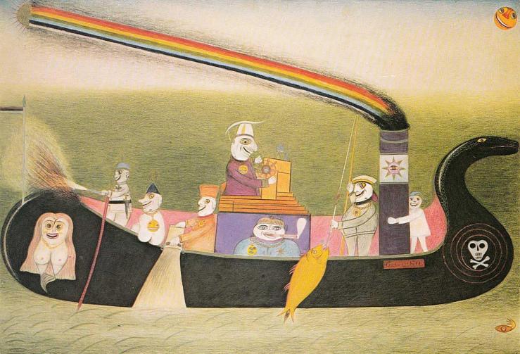 The State Magic Ship to the Moon Spirit Driving , 1956 by Friedrich Schroder-Sonnenstern (1892-1982)