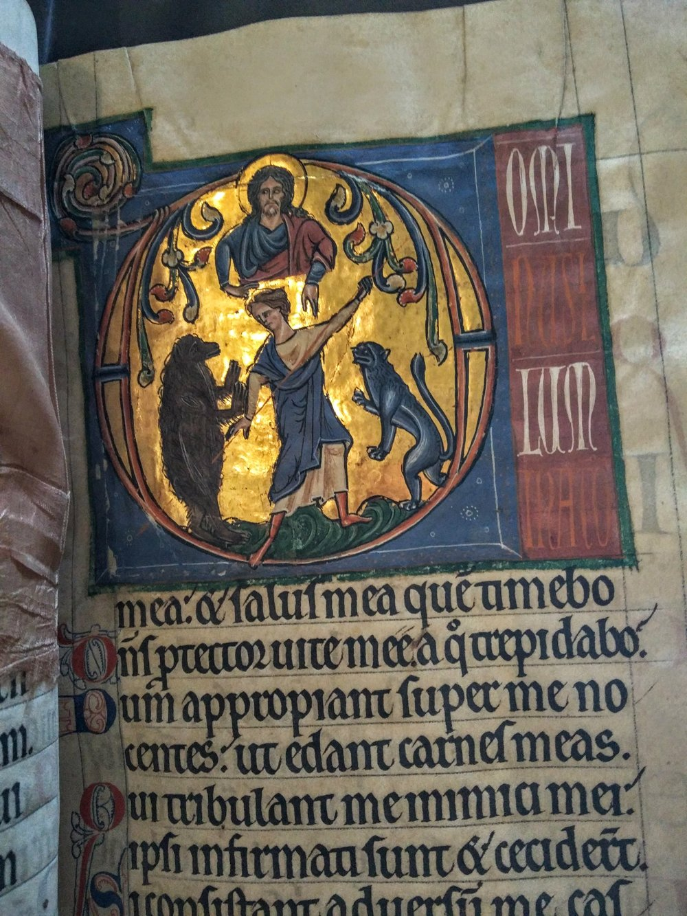 Illumination in 12th century English Pontifical (Magdalen MS Lat 226)