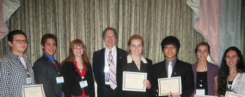 Students received special recognition for their poster presentations at public session meeting,  shown here with BCERP 2011 Program Chair, Frank Biro, MD  Cincinnati Children's Hospital Medical Center, Cincinnati, OH