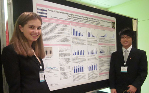 Huntington student Kayla Neville and John Yang at BCERP meeting,displaying their poster from Stony Brook University.