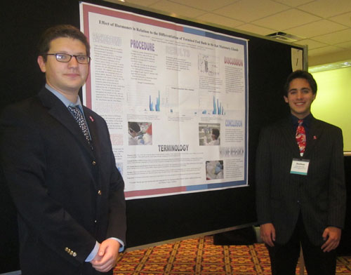 Yonatan David, Great Neck and Joshua Solomowitz, Huntington, interned at Fox Chase Cancer Center. Yonatan and Joshua displayed their poster at BCERP meeting.