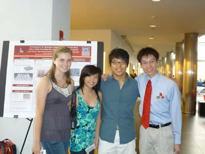 Huntington's Kayla Neville (first left) and Great Neck's John Yang(second from right)interned at Stony Brook University, July - August 2011.