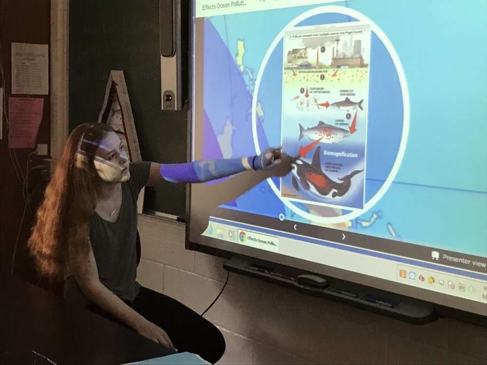 Sara Frawley teaches her classmates about ocean pollution and our health