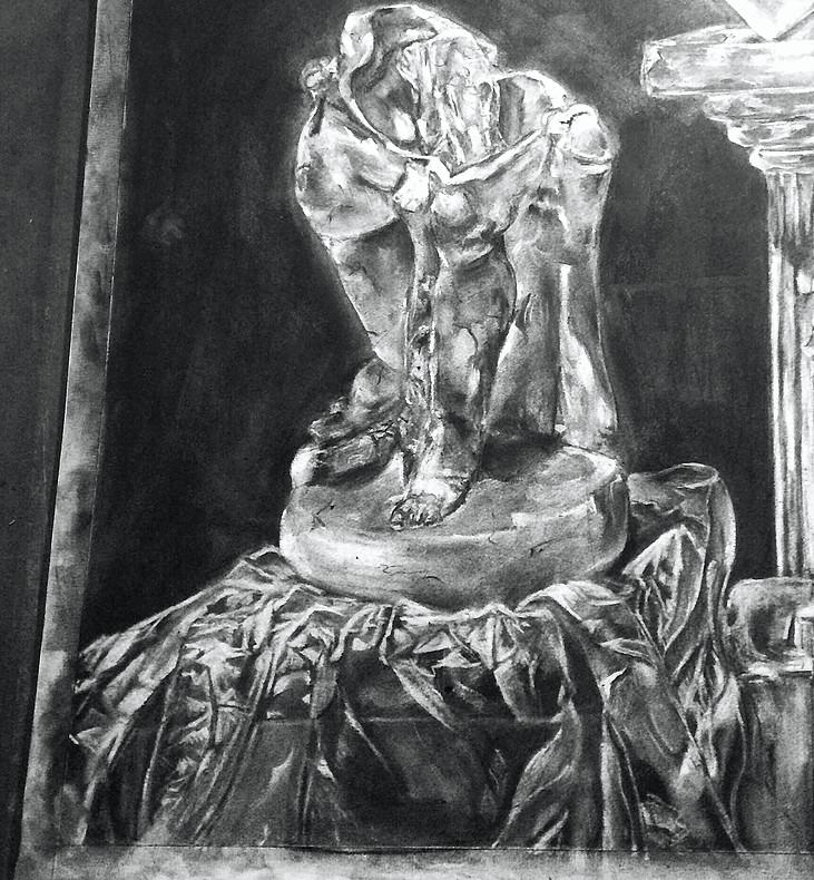 cupid. charcoal. 22x30